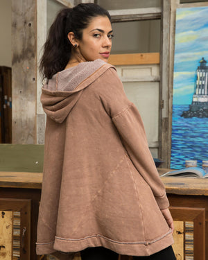 Nude Sweater Cardigan with Hood