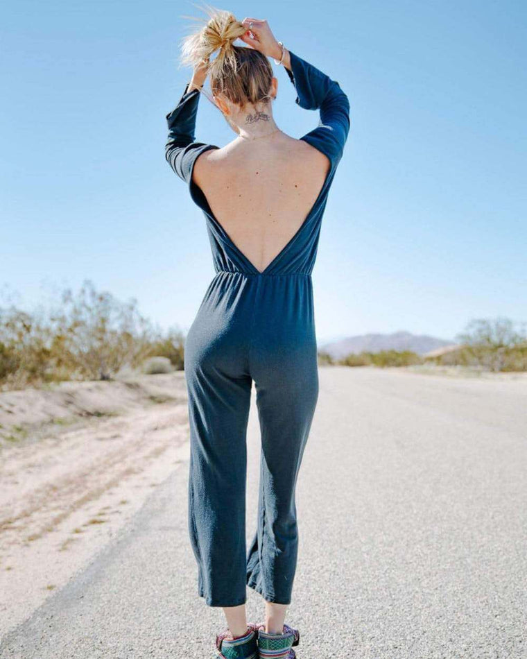 Vintage Navy Long Sleeve Jumpsuit with Drop Back