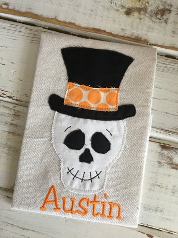 Skeleton Hat Bean Stitch Applique Design - Hug A Bug Applique Designs