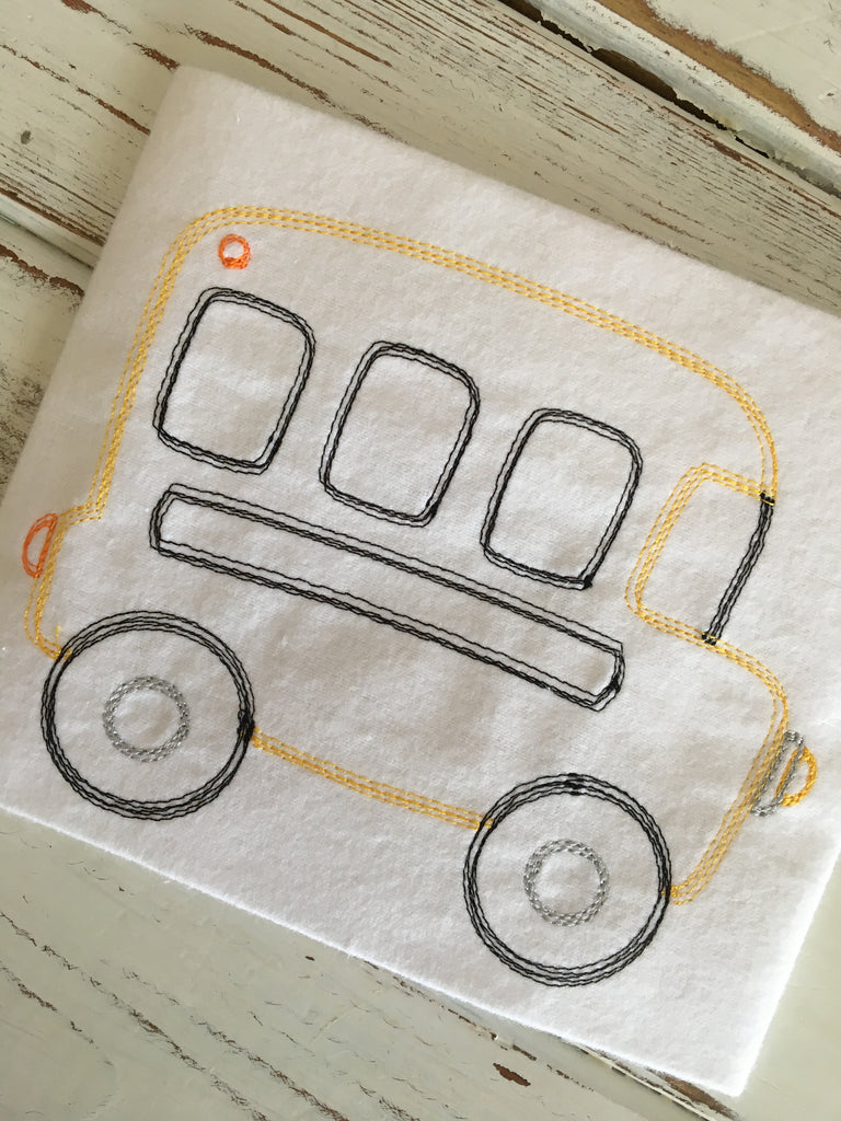 Bus Scribble Sketch Embroidery Design - Hug A Bug Applique Designs