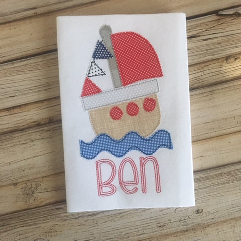 Boat Bean Stitch Applique Design