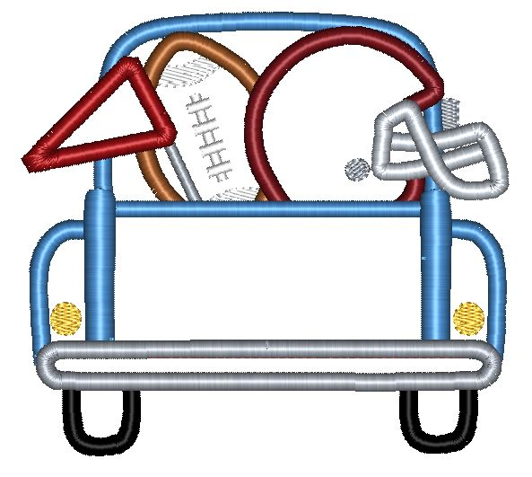 Truck Back Football Applique Design - Hug A Bug Applique Designs