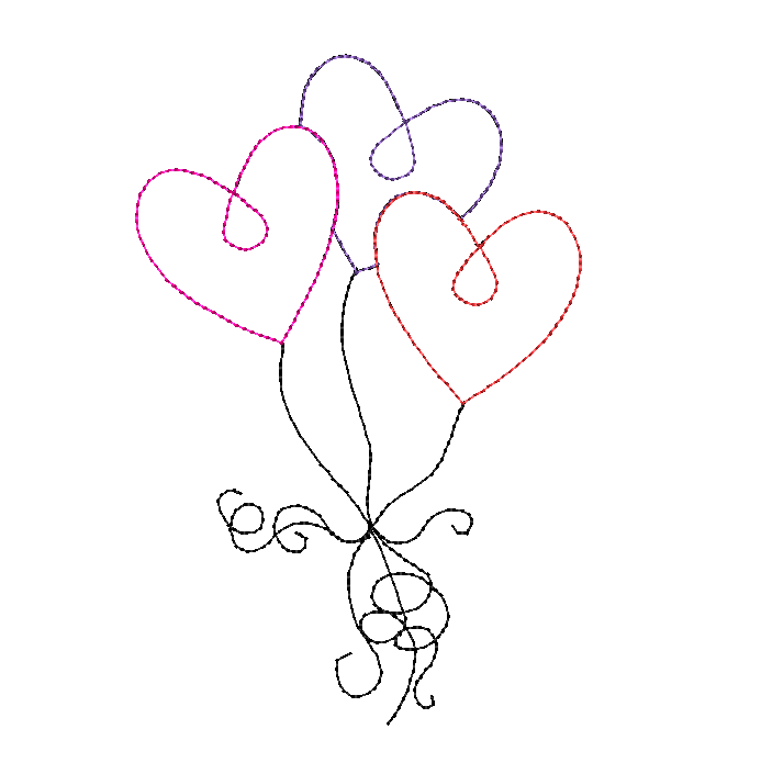 Heart Balloons Bean Stitch Applique Design - Hug A Bug Applique Designs