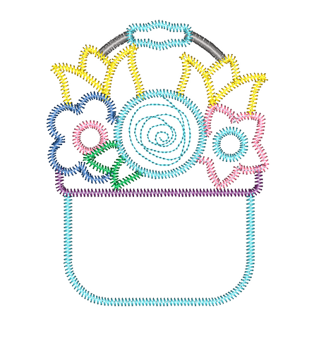 Flower Basket Zig Zag Stitch Applique Design