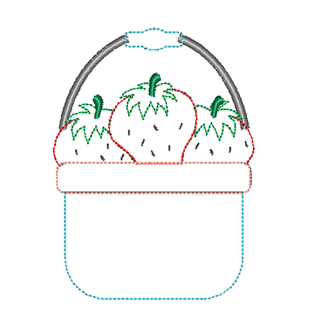 Strawberry Basket Bean Stitch Applique Design