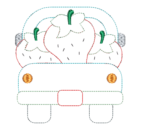 Strawberry Truck Bean Stitch Applique Design