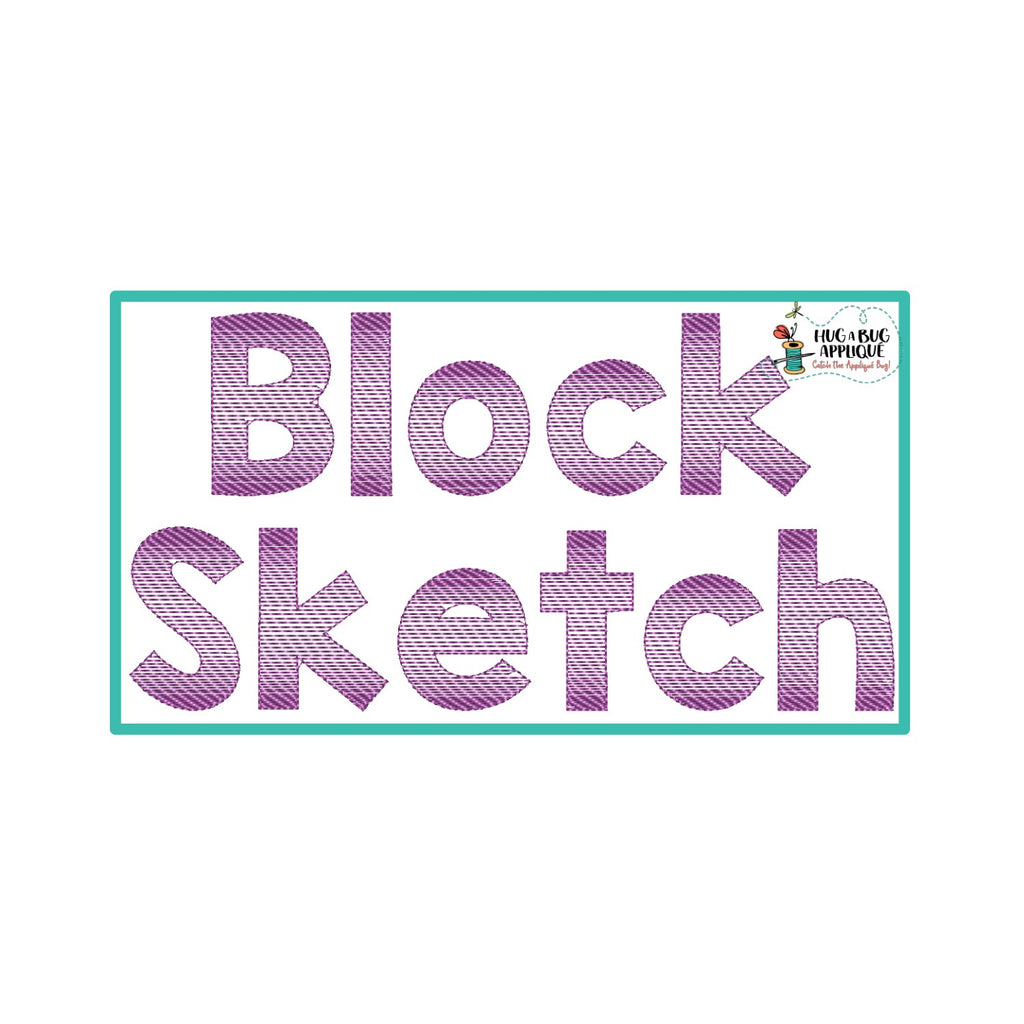 Block Sketch Stitch Embroidery Font