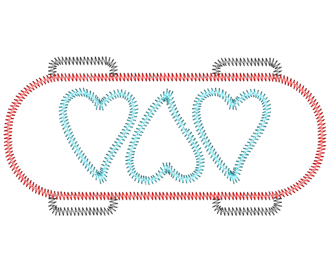 Skateboard Hearts Zig Zag Stitch Applique Design
