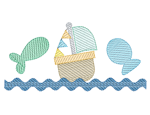 Fish Boat Trio Sketch Embroidery Design