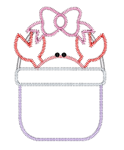 Crab Bow Bucket Zig Zag Stitch Applique Design