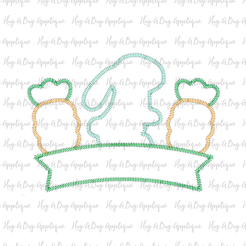 Bunny Carrots Banner Zig Zag Stitch Applique Design