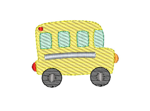 School Bus Mini Sketch Embroidery Design