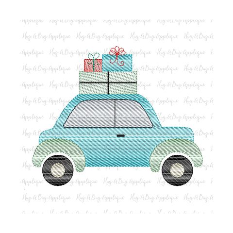 Christmas Car Gifts Sketch Stitch Embroidery Design