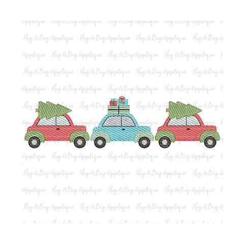 Christmas Cars Trio Sketch Stitch Embroidery Design