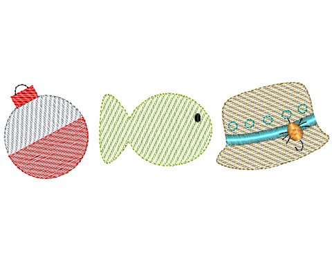 Fishing Trio Sketch Embroidery Design