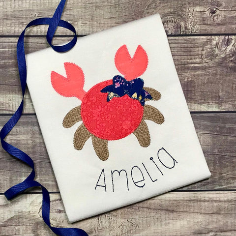 Crab Bow Zig Zag Stitch Applique Design
