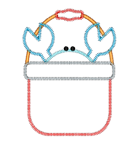 Crab Bucket Zig Zag Stitch Applique Design