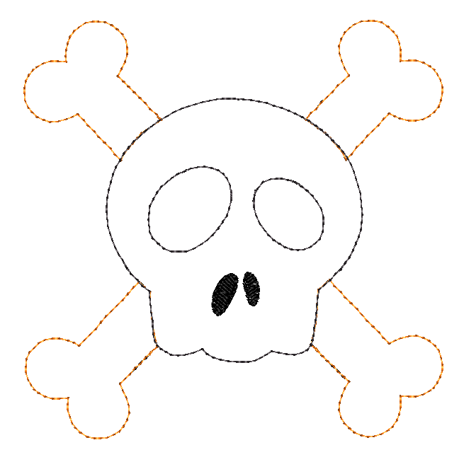 Cross Bones Bean Stitch Applique Design - Hug A Bug Applique Designs