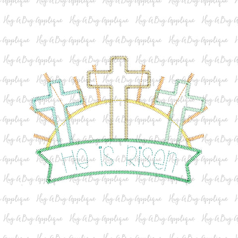 Cross Trio Banner Zig Zag Stitch Applique Design