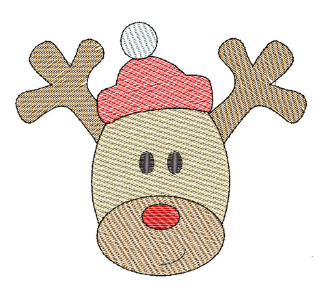 Reindeer Hat Sketch Embroidery Design - Hug A Bug Applique Designs