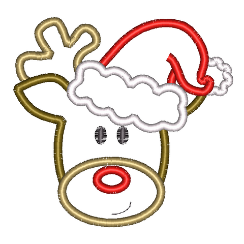 Reindeer Santa Hat Applique Design - Hug A Bug Applique Designs