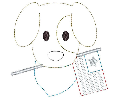 Dog Flag Bean Stitch Applique Design
