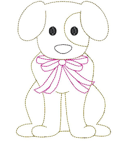 Dog Bow Bean Stitch Applique Design