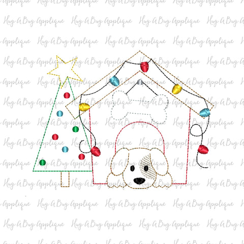 Dog House Tree Bean Stitch Applique Design