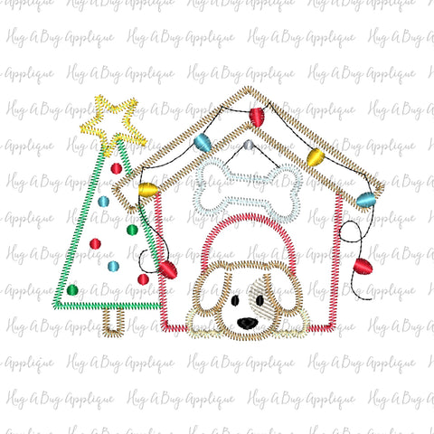 Dog House Tree Zig Zag Stitch Applique Design