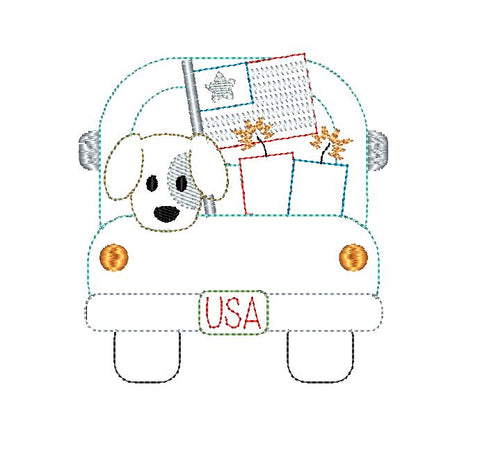 Truck Dog Flag Bean Stitch Applique Design
