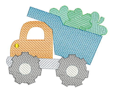 Dump Truck Shamrocks Sketch Stitch Embroidery Design
