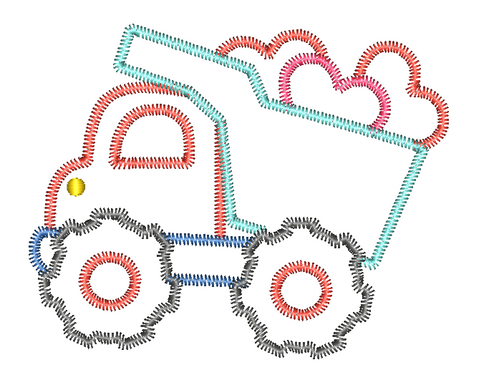 Dump Truck Hearts Zig Zag Stitch Applique Design