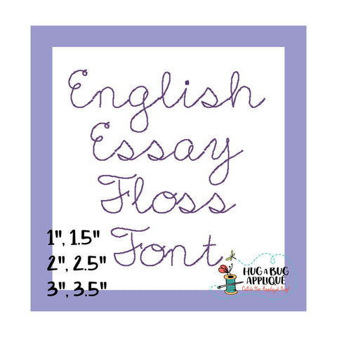 English Essay Floss Stitch Embroidery Font