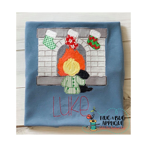 Fireplace Boy Bean Stitch Applique Design
