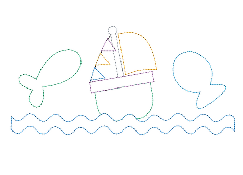 Fish Boat Trio Bean Stitch Applique Design