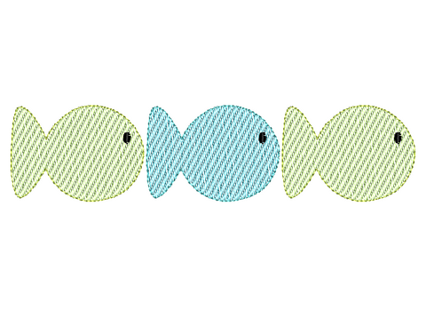 Fish Trio Sketch Embroidery Design