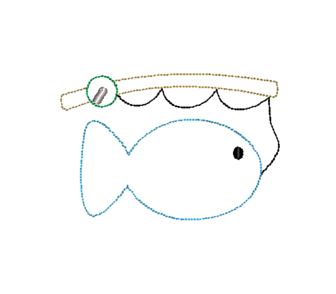 Fishing Pole Fish Bean Stitch Applique Design - Hug A Bug Applique Designs