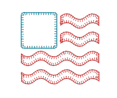Flag Wave Blanket Stitch Applique Design
