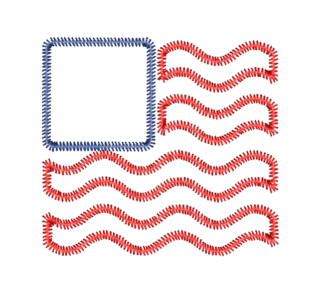 Flag Wave Zig Zag Stitch Applique Design - Hug A Bug Applique Designs