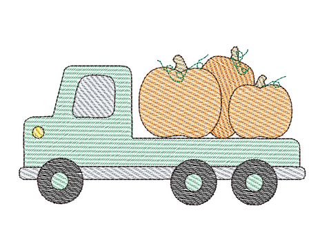 Flatbed Truck Pumpkin Sketch Embroidery Design
