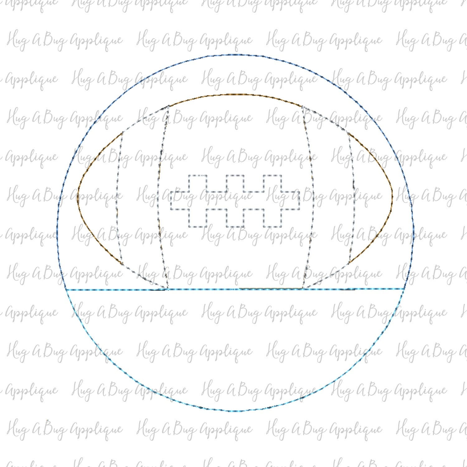 Football Split Circle Bean Stitch Design