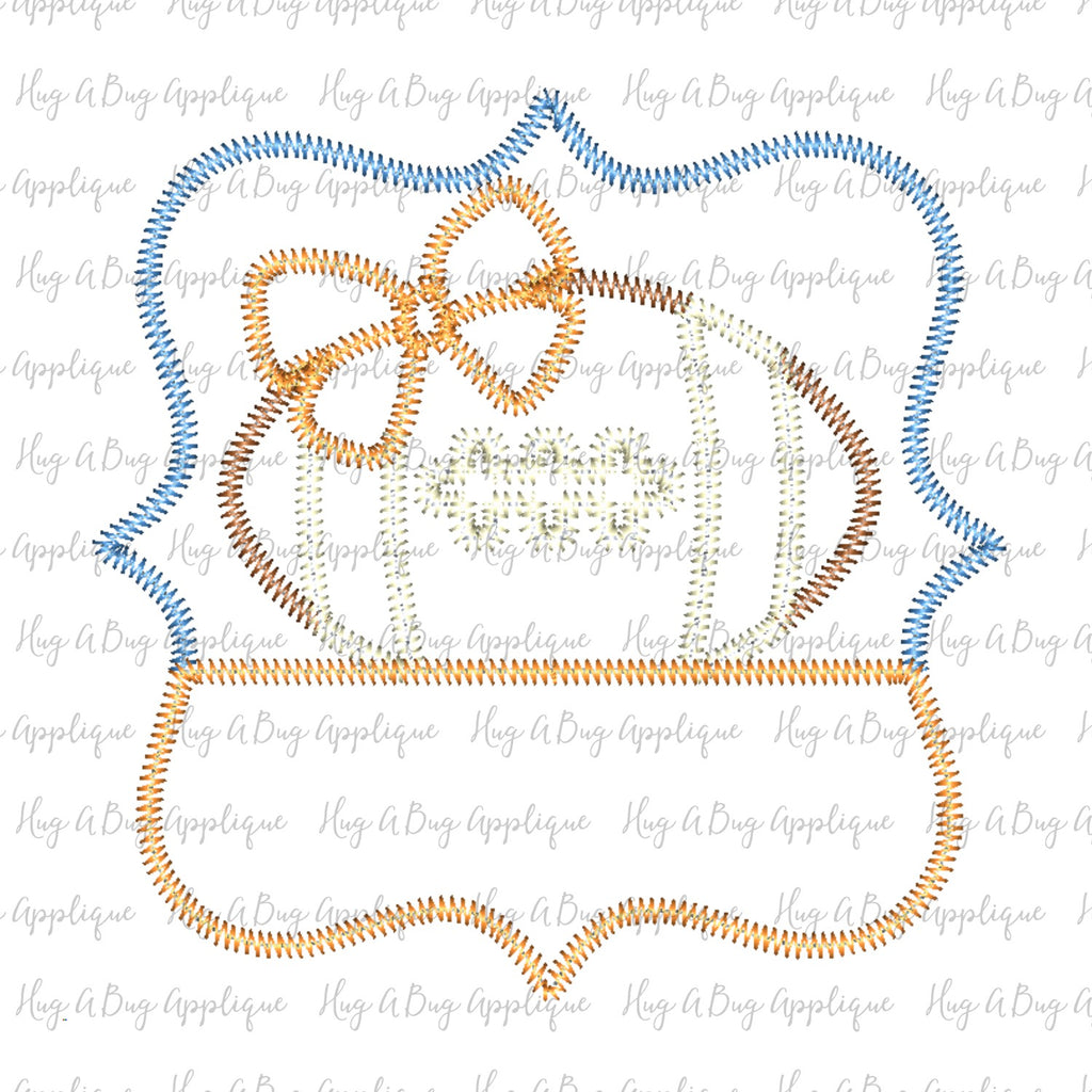 Football Bow Frame Zig Zag Stitch Applique Design