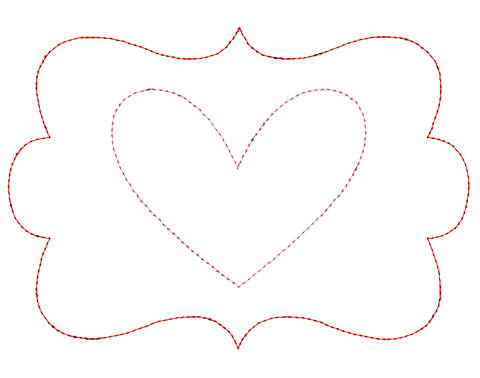 Heart Frame Bean Stitch Applique Design