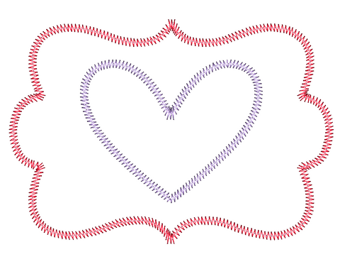 Heart Frame Zig Zag Stitch Applique Design