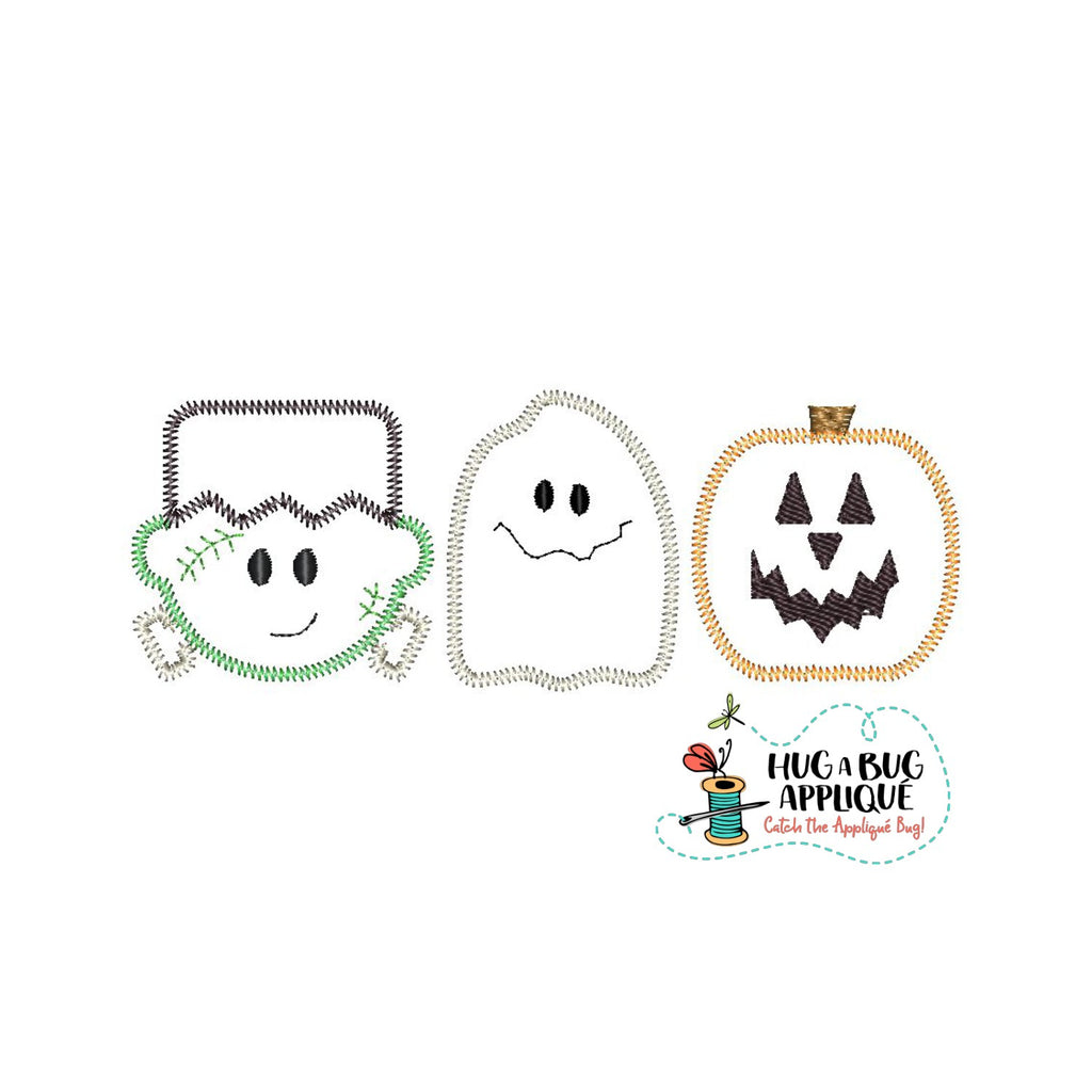 Frank Ghost Jack Trio Zig Zag Stitch Applique Design