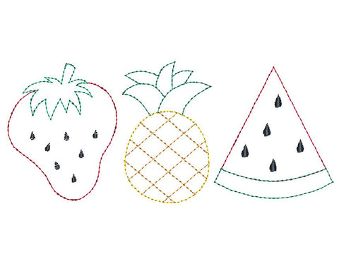 Fruit Trio Bean Stitch Applique Design