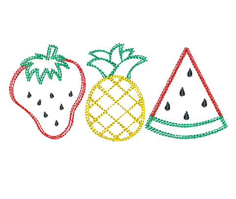 Fruit Trio Scribble Stitch Embroidery Design