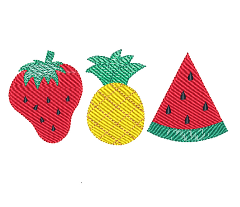 Fruit Trio Sketch Stitch Embroidery Design