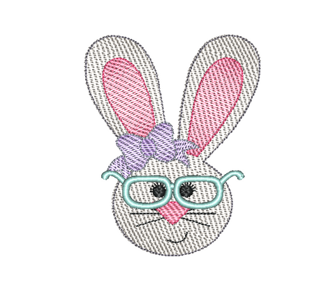 Rabbit Girl Glasses Sketch Embroidery Design