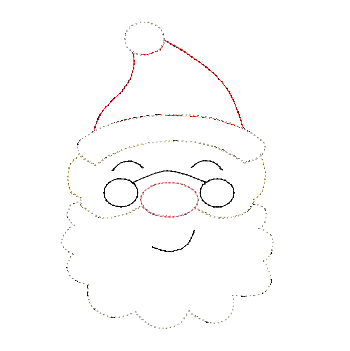 Santa Glasses Bean Stitch Applique Design - Hug A Bug Applique Designs